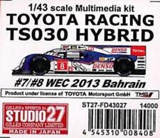 Studio27 1/43 Toyota Racing Ts030 Hybrid #7/#8 Wec 2013 Bahrain Multimedia kit
