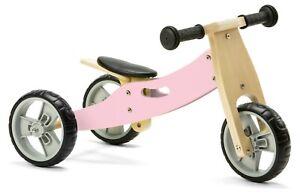 Nicko NIC815 Pastel Pink Mini Convertible Wooden Balance Bike Toddler Trike