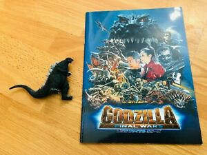 """TOHO 2002 Godzilla Toy Figure 3.5"""" & Godzilla Final Wars Japanese Film Programme"""