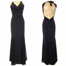Cache Mermaid Evening Dress Size Medium Black Flare Open Back Ball Gown Formal