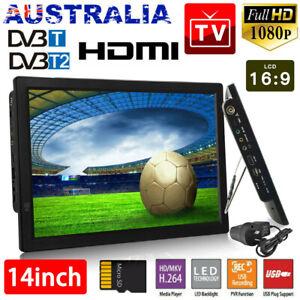 "14"" Digital 1080P HD TFT LED Car USB HDMI 12V TV Video Player Television AU"