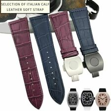 26 mm Cowhide Silicone Strap Brown Folding Buckle Watch Band For Franck Muller