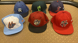 """Lot of 6 MILB Minor League Hats All 7 3/8"""" New Era 5950 Fitted"""