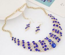 CHUNKY GOLD TONE BLUE, CLEAR ENCRUSTED DIAMANTE RHINESTONE CRYSTAL NECKLACE  SET