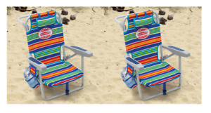 Tommy Bahama KIDS Backpack Beach Chair Lounge 5 Position Foldable, 2 PACK (1716)