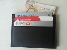 Slim black real leather credit card oyster holder thin wallet ID case 7 slots