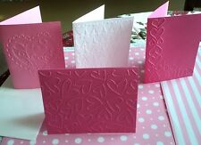 4 EMBOSSED BLANK VALENTINE'S DAY GREETING CARDS ~HANDMADE SET 3 ~ASSORTED COLORS