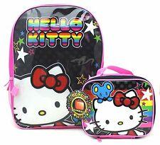 Hello Kitty Black Pink Stars Girl's Little Girl Backpack + Detachable Lunch Bag