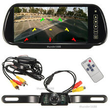 "Car Wireless 7"" LCD Screen Rear View Backup Mirror Monitor Reverse IR Camera Kit"