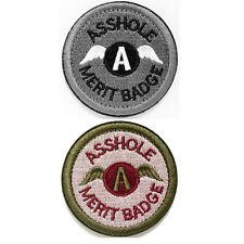2 Pieces Ass Hole Merit Badge USA Military Tactical Morale Desert Subdued Patch