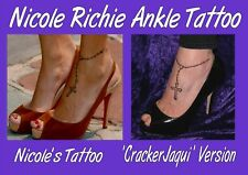 NICOLE RICHIE temporary ankle foot TATTOO tattoos cross  chain LASTS ONE WEEK+