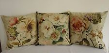 Set of 3 French Country Roses & Flowers Linen Look Cushion Covers 45cmn
