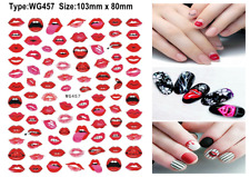 Sexy Red Lips Cigarette Love Arrow Heart Lock Key Valentine day 3D Nail Sticker