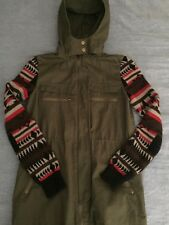 Army Green Jacket With Sweater Sleeves and very nice Hood,  Size XS, super cute!