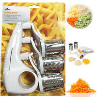 Rotary Grater Hand Cheese Shredder Vegetable Cutter Kitchen Slicer Peeler Blades