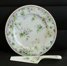 Cake Plate platter & Server Porcelain Monica Ivory Flowers floral grapes holiday