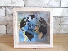 Spardose Weltkarte aus Holz Reisekasse Sparschwein