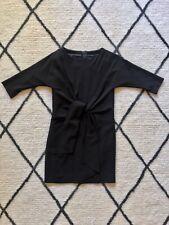 ASOS BLACK Raglan Sleeve WAIST TIE DRESS + Gold Back Zip XS 6 8 34
