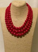 Womens Statement Long Big Large Red Beaded Faux Pearl Necklace Hook Earrings Set