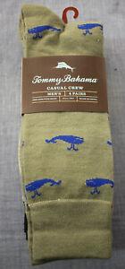 Tommy Bahama Mens (4 Pair) Beige Whales Beach Chairs Martini Logo Crew Socks NWT