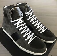 700$ Saint Laurent Brown Suede High Tops Sneakers size US 14, Made in Italy