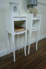 Pair Of High Leg French Bedside Tables In Shabby Chic White