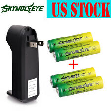 4pc SKYWOLFEYE 14500 Battery 3.7V 1200mAh Li-ion Rechargeable Cell Batt +Charger