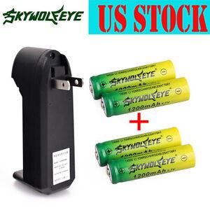 4pcs SKYWOLFEYE  3.7V 1200mAh Li-ion Rechargeable 14500 Battery + Smart Charger