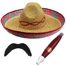 RED MEXICAN SOMBRERO STRAW HAT ADD MOUSTACHE CIGAR BANDIT FANCY DRESS COSTUME
