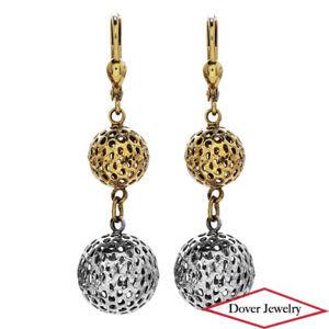 Estate 14K Gold Two Tone Ball Dangle Drop Earrings NR