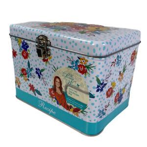Pioneer Woman Recipe Box Kitchen Tin Latch Lid Birthday Floral Gorgeous
