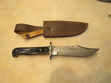 Large Damascus Bowie knife w black Micarta handles & leather sheath