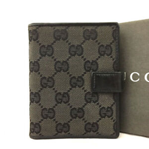 GUCCI GG Logo Canvas Leather Notebook Cover / /E1120