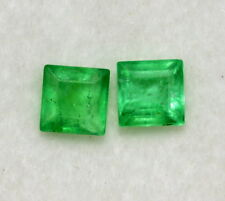 Natural Emerald Square Cut Pair 3.50 mm 0.55 Cts Rich Green Loose Gemstones