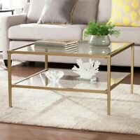 Contemporary Square Coffee Table Clear Glass Top Shelves Gold Finish Metal Frame