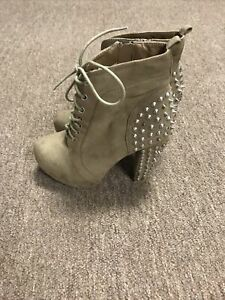 Charlotte Russe Beige/Tan Studded Boot Size 8