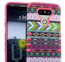 For LG G5 - Hard Soft Rubber Hybrid Skin Case Cover Armor CORAL PINK GREEN AZTEC