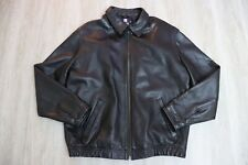 VTG Chaps Ralph Lauren Genuine Leather Jacket Coat Men's Medium Full Zip Black