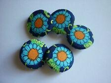 (0,90€/St.) 5x Stoffknöpfe, 22mm, Blume, Blüte, blau
