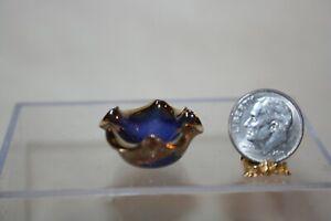 Miniature Dollhouse Alex Meiklejohn Purplish Blue Bowl Heavy Gold Ruffled Rim NR