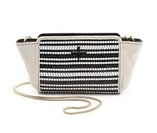 POUR LA VICTOIRE PLV ELIE MINI CROSSBODY BAG HANDBAG PURSE WHITE BLACK WOVEN