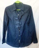 Ralph Lauren Women's Blouse Size 10  Ruffle Collar Front Button Up Navy Blue