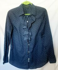 Ralph Lauren Women's Blouse Size 10  Ruffle Collar Front Button Up Navy Blue