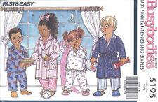 Vintage Girl's Boy's Pajamas Sleep Top Pants Robe Sewing Pattern UNCUT 4 5 6