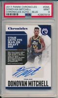 2017 Panini Chronicles Donovan Mitchell Auto RC #DML Blue PSA 9 Mint #75/99 Jazz