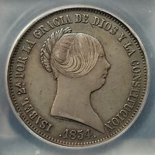 Very Scarce 1854 Spain 20 Reales   ICG AU50