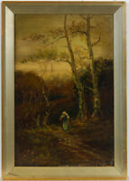 Framed Early 20th Century Oil - Figure in a Woodland Landscape
