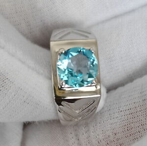 Natural Swiss Blue Topaz Silver Ring Men Jewelry 7.5mm Crystal Size 7 December
