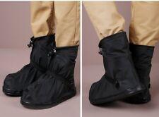 Reusable Rain Shoe Covers Bike Waterproof Zipper Overshoes Boots Gear Anti-Slip