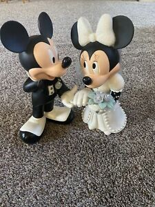"Disney Original Mickey and Minnie Mouse Bride Groom Porcelain Figurine 13"" Tall"